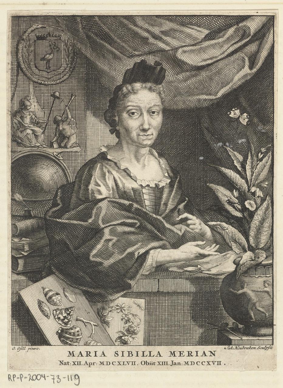 2/7 - Jacob Houbraken (prentmaker) en Georg Gsell (naar schilderij van), Portret van Maria Sibylla Merian, 1708-1780, gravure. Collectie Rijksmuseum Amsterdam.