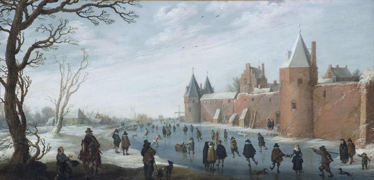 2/8 - Joost Cornelisz Droochsloot, Schaatsers op de stadsgracht, 1622, collectie Clemens-Sels-Museum, Neuss.