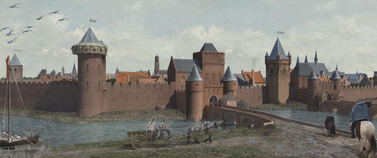 7/8 - De Tolsteegpoorten met de Bijlhouwerstoren omstreeks 1500, 3D-reconstructie door Daan Claessen, Erfgoed gemeente Utrecht, 2020.