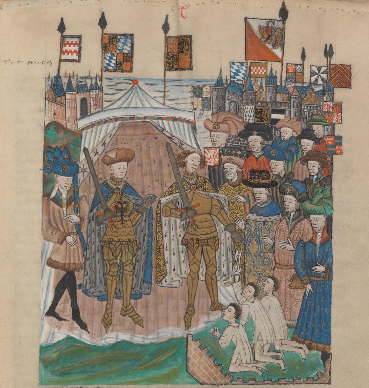 3/8 - De overgave van Utrecht uit het Remissorium Philippi van ca. 1450, collectie Nationaal Archief Den Haag