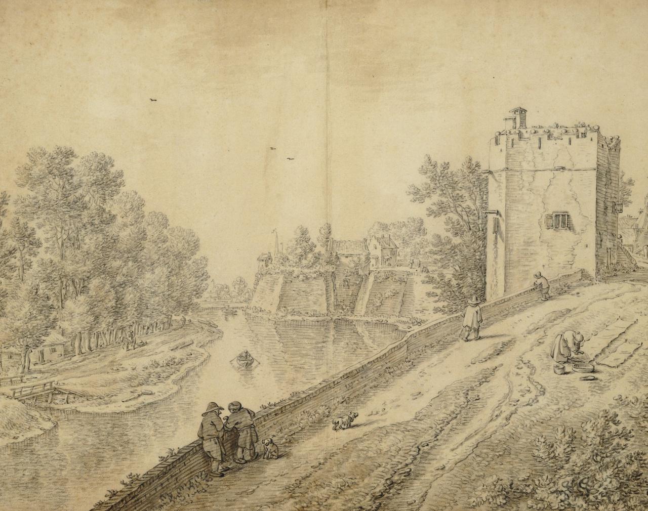 6/8 - Herman Saftleven, De stadswal met Servaashek en Manenburg, 1650-1675, collectie Het Utrechts Archief