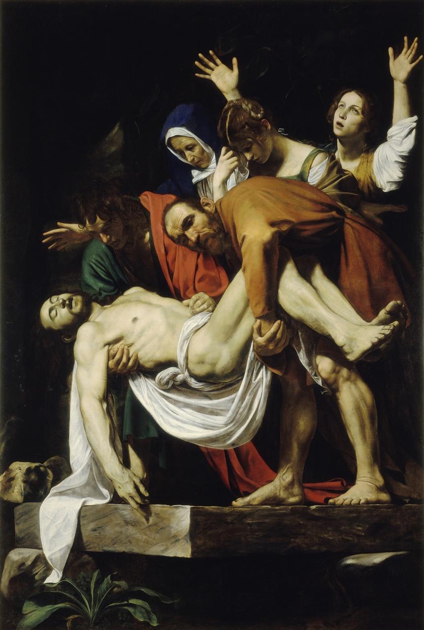 2/34 - Caravaggio, De graflegging van Christus, 1602-1603, Pinacoteca Vaticana, Vaticaanstad. In de tentoonstelling tot en met 13 januari 2019.