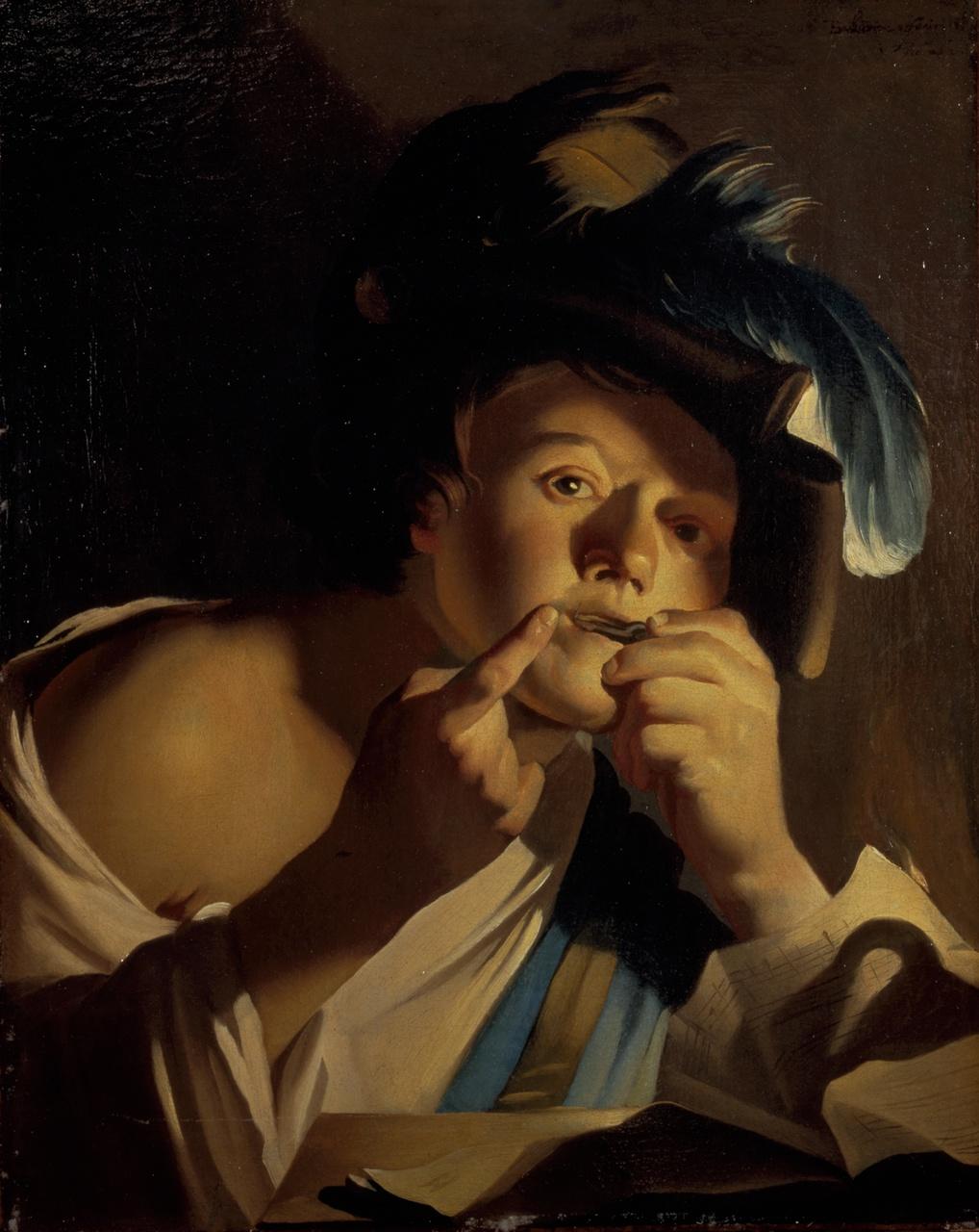 16/34 - Dirck van Baburen, Jongen met mondharp, 1621