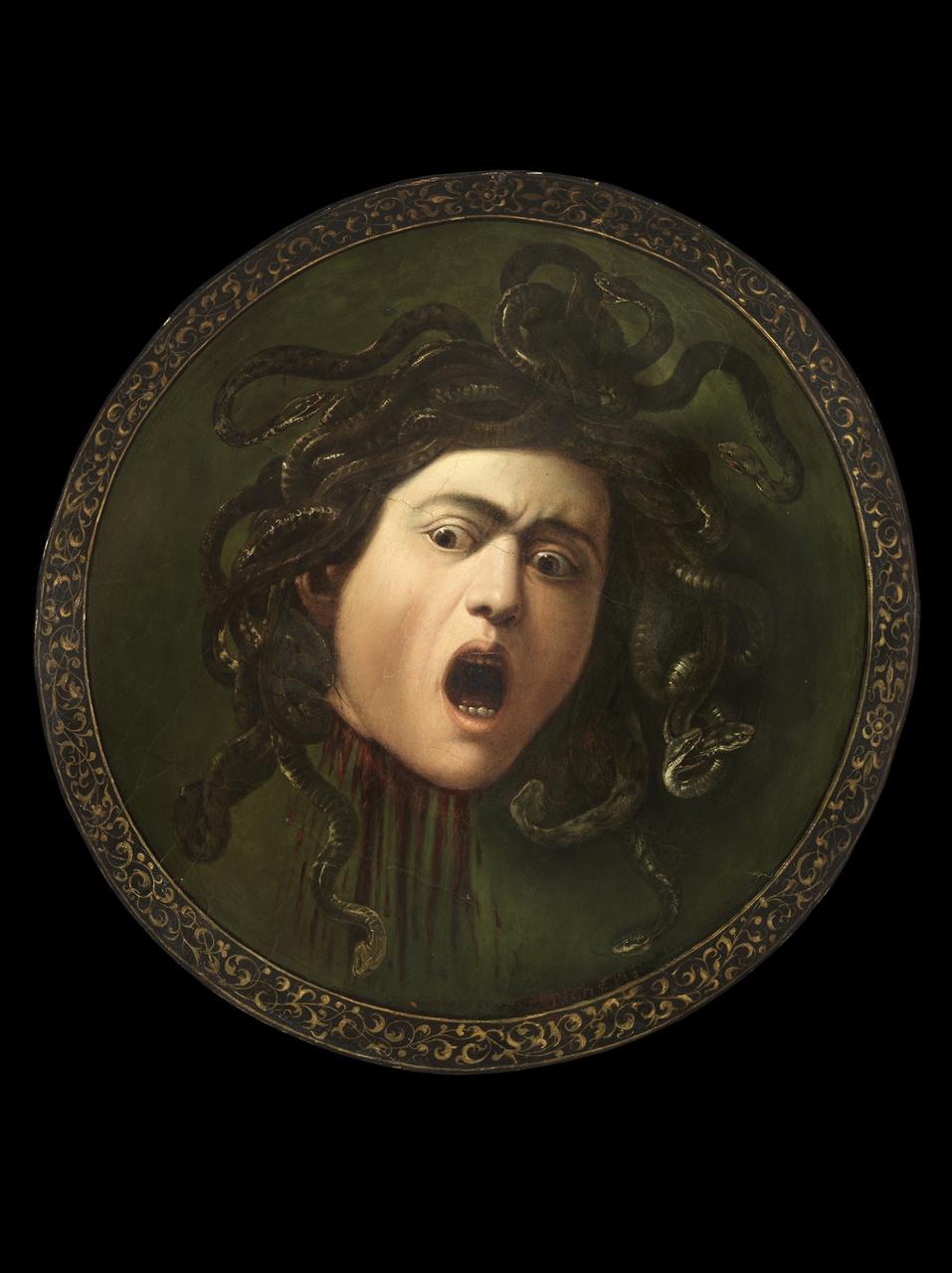 5/34 - Caravaggio, Medusa, ca.1596. Bruikleen particuliere collectie. In de tentoonstelling vanaf 15 januari 2019.